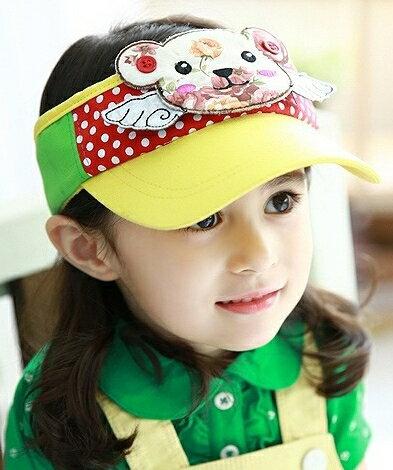 Lemonkid◆超可愛立體印花小熊翅膀點點兒童防曬空頂鴨舌帽-黃色帽檐