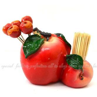 創意 蘋果水果造叉牙籤筒 叉子 鐵叉 牙籤桶 桌飾 禮物【DI430】◎123便利屋◎