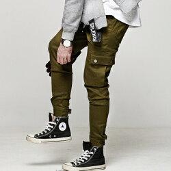 DITION 機能OUTDOOR多口袋工裝縮口褲 黏貼 寬褲