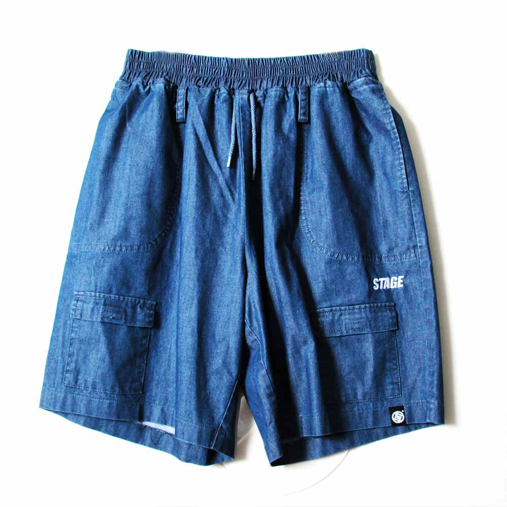STAGE VITALITY WIDE DENIM SHORTS 黑色/中藍色 兩色 3