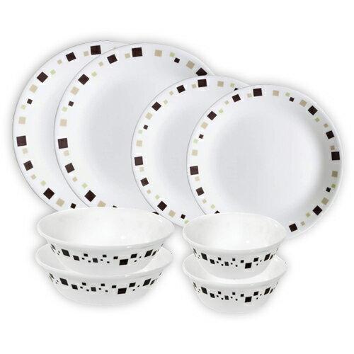 康寧超值八件碗盤組(繽紛巧克力)/組【愛買】