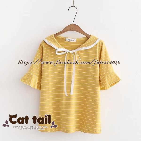 《貓尾巴》TS-0848日系條紋海軍風短袖T恤(森林系日系棉麻文青清新)