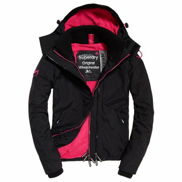 美國百分百【全新真品】Superdry 極度乾燥 風衣 連帽 外套 防風 夾克 刷毛 黑色 莓紅 女 F855
