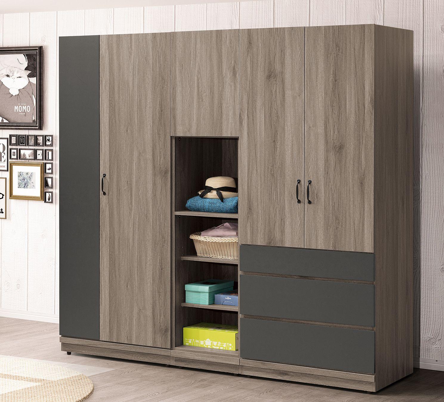 簡單家具,M602-1 灰橡雙色6.8尺衣櫥(整組),大台北都會區免運費