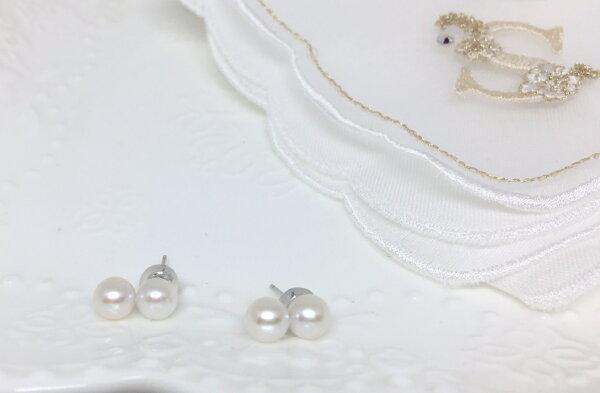 SUBROSE:【日本Akoya海水真珠】日本Akoya真珠雙珠白K14金耳環_あこや本真珠