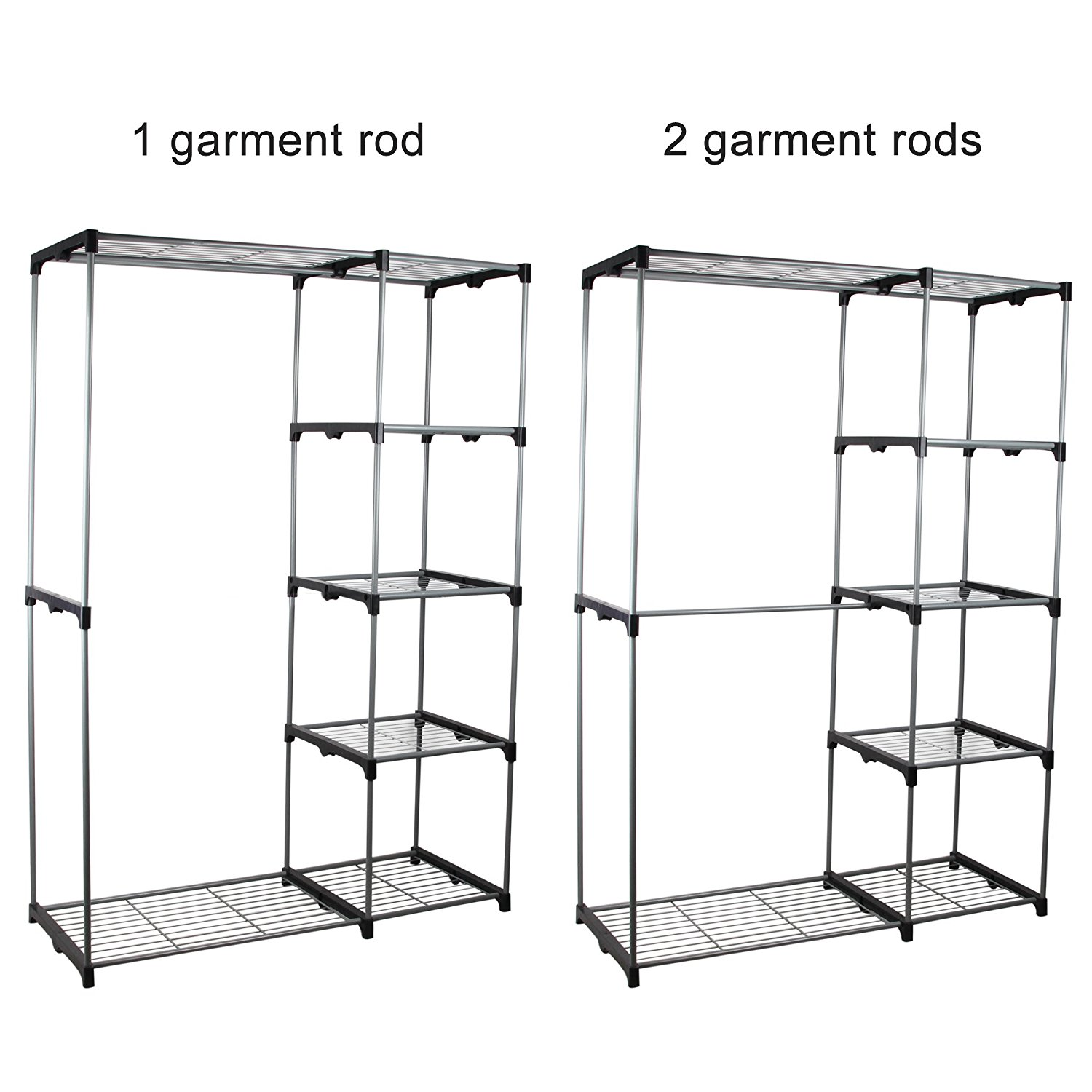 Double Rod Portable Clothes Storage Rack Freestanding Closet Wardrobe with Steel and Plastic Frame CL68 3  sc 1 st  Rakuten.com & New Shining Image: Double Rod Portable Clothes Storage Rack ...