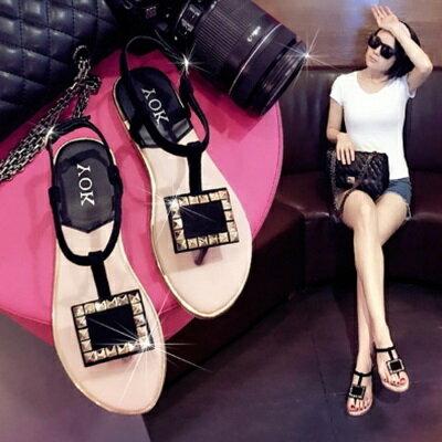 ~平底鞋方扣羅馬涼鞋~優雅氣質璀璨 女鞋子5色73ey2~ ~~米蘭 ~