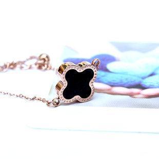 康芭芭 飾品女 鈦鋼玫瑰金雙面黑白色四葉草手鏈腳鏈 HA0001
