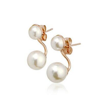 ~玫瑰金耳環925純銀鑲鑽耳飾~別緻精巧珍珠 情人節生日 女飾品2色73gs127~ ~~