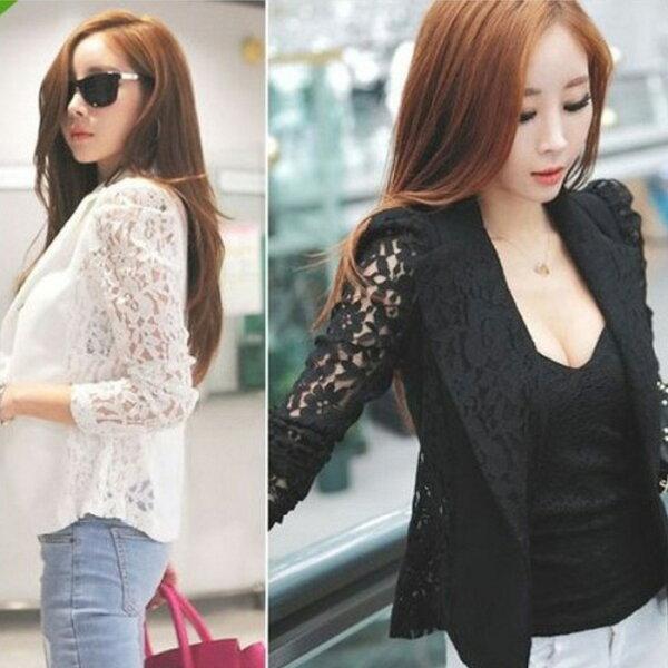 糖衣子輕鬆購【GH8111】韓版時尚百搭修身蕾絲拼接西裝外套