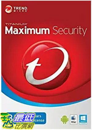 [7美國直購] 2018 amazon 亞馬遜暢銷軟體 Trend Micro Maximum Security 2018 version12 3 Devices 3 Years for PC, Ma