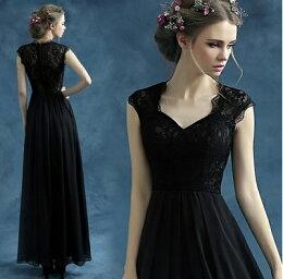 天使嫁衣黑色蕾絲 透視 長禮服 預購訂製