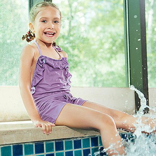 BOBI:兒童泳裝素色花邊露背萌連身繞頸兒童泳裝【SFC2021】BOBI1214