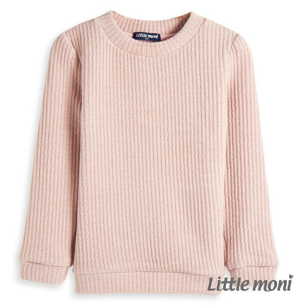 Little moni 愛心補丁袖羅紋上衣-粉紅