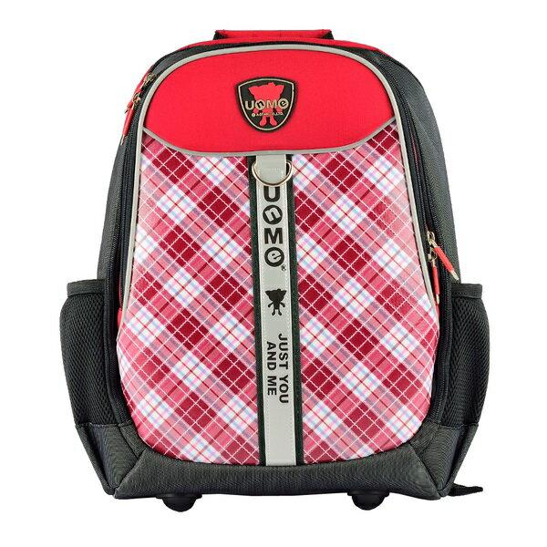 X射線【Cr3247】UnMe蘇格蘭格紋電腦包(格紋.紅)3247台灣製造,開學必備/護脊書包/書包/後背包/背包/便當盒袋/書包雨衣/補習袋/輕量書包/拉桿書包