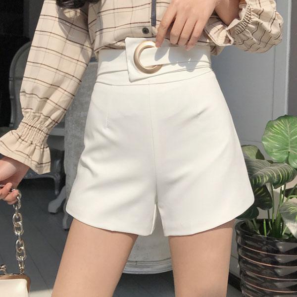 鐵環腰帶高腰西裝褲短褲寬口顯瘦修身百搭黑白韓國ANNAS.