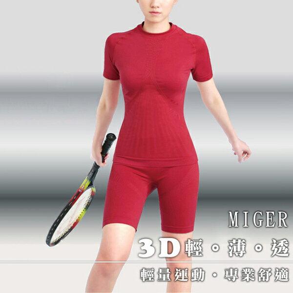 YO AMIGO透氣排汗短袖休閒運動套裝組(上衣+褲子)-紅色-(編號:536)