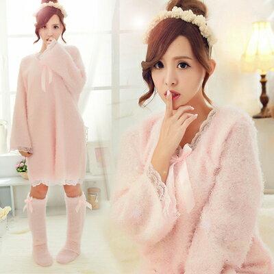 冬季睡衣-超萌蕾絲素色長袖睡衣-睡裙-泰迪熊毛毛(不含襪套)