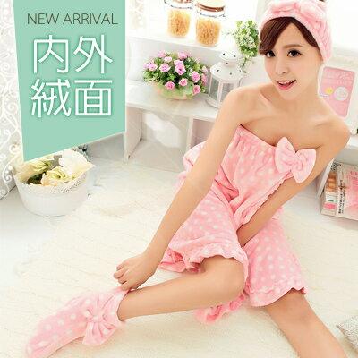 冬季睡衣~出浴暖暖三件式法蘭絨睡衣~睡裙(可當浴裙)+髮帶+加高室內襪(內層絨加量綿密)
