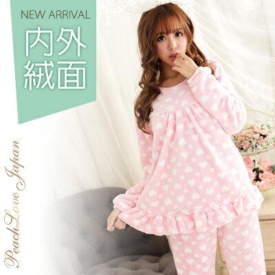冬季睡衣~柔嫩小愛心頂級法蘭絨睡衣~睡衣+睡褲(內層絨加量綿密)
