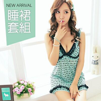 ~日系蕾絲花漾睡衣組-睡裙+小內褲