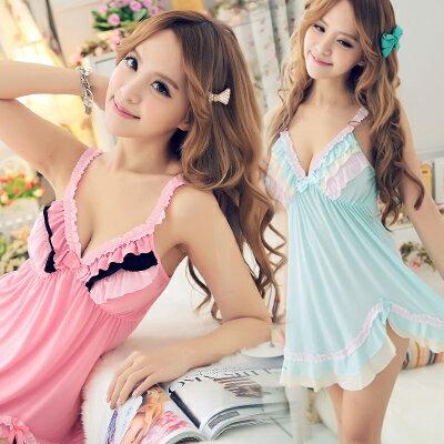 涼感!超柔!日系錦?棉彩虹睡裙+小內褲