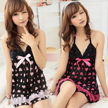 日系甜蜜睡衣+小褲裙(桃紅、粉紅)