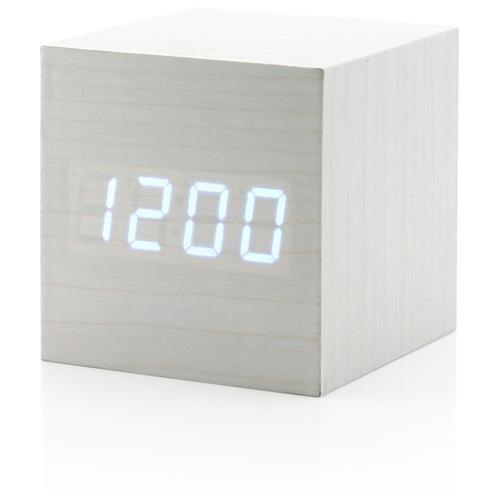 649015484042 Ultra Modern Wooden LED Digital Alarm Cube Clock Thermometer Timer Calendar  - White 0