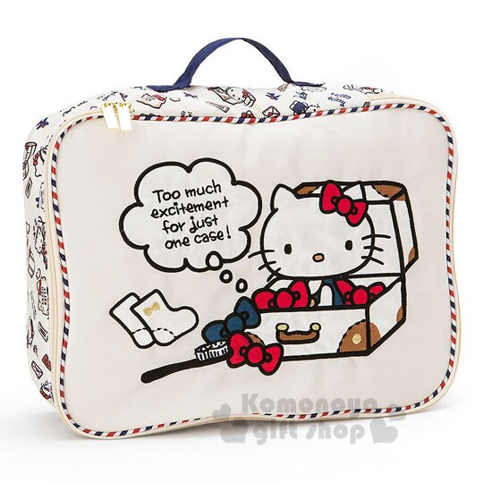 預購〔小禮堂〕Hello Kitty 手提收納包《L.米.行李箱》空服員遊世界系列