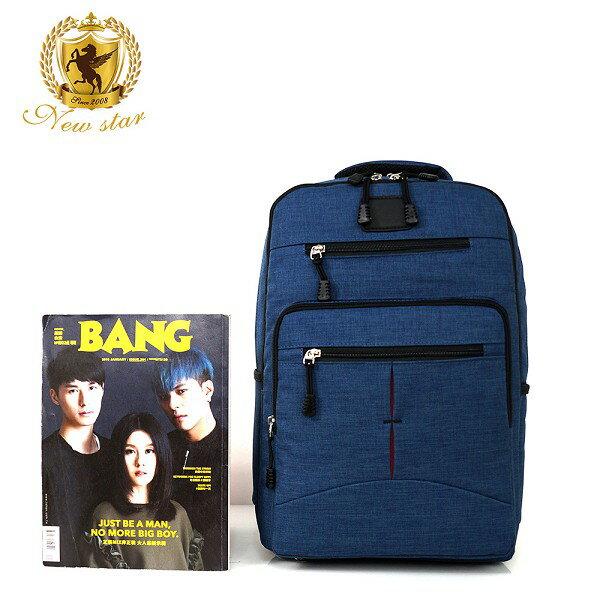 韓風簡約時尚防水雙層拉鍊多口袋後背包包 NEW STAR BK244 8