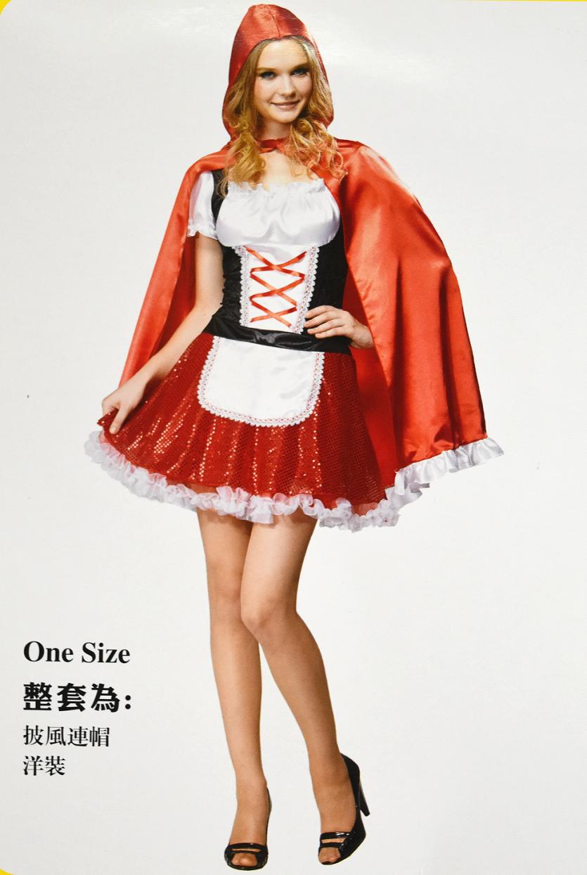 X射線~W380163~亮片裙小紅帽, 小紅帽  大野狼  尾牙  萬聖  聖誕  大人變