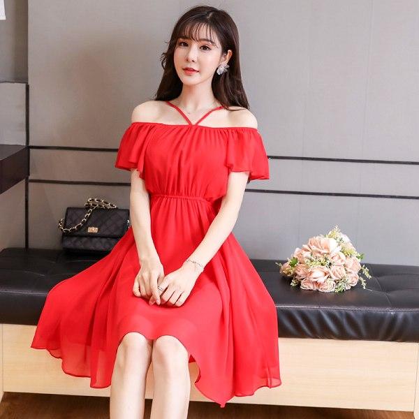 灰姑娘[9894-JK]清新一字肩吊帶感性浪漫雪紡洋裝~
