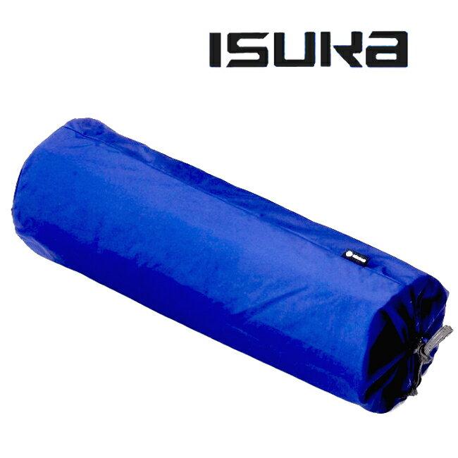ISUKA 圓筒收納袋/抗撕裂收納袋/睡墊收納袋/尼龍束口袋/裝備袋/18X60公分 D18 藍色 375221