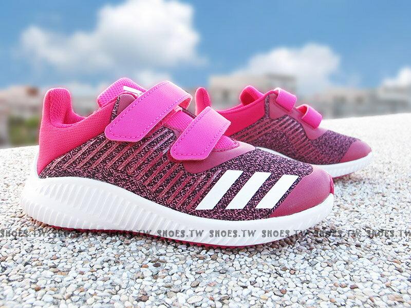 《下殺6折》Shoestw【BA9479】ADIDAS FORTARUN CF 童鞋 運動鞋 桃紫 黏帶 中童 大童