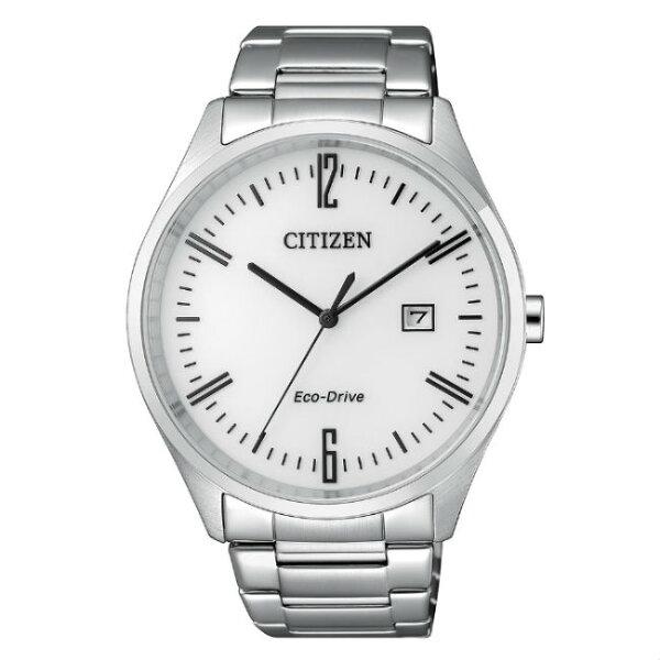 CITIZEN星辰錶BM7350-86A現代簡約光動能腕錶白面42mm