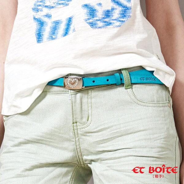 【精選配件】帶頭愛心鑲鑽細皮帶(藍)-BLUEWAYETBOiTE箱子