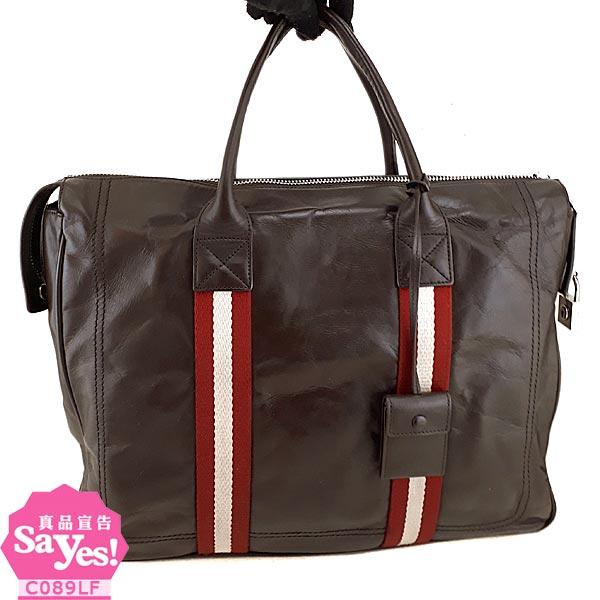 【奢華時尚】BALLY 深咖啡色牛皮經典紅白織帶手提公事包(八成新) #21012