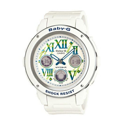 CASIO BABY-G BGA-150GR-7B亮白雙顯流行腕錶/白面42.8mm