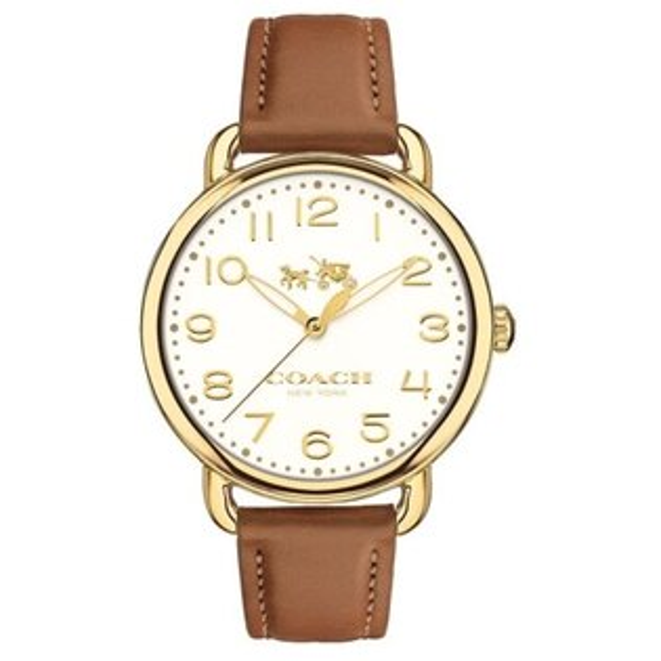 COACH耀眼迷人時尚腕錶白*咖啡色14502561