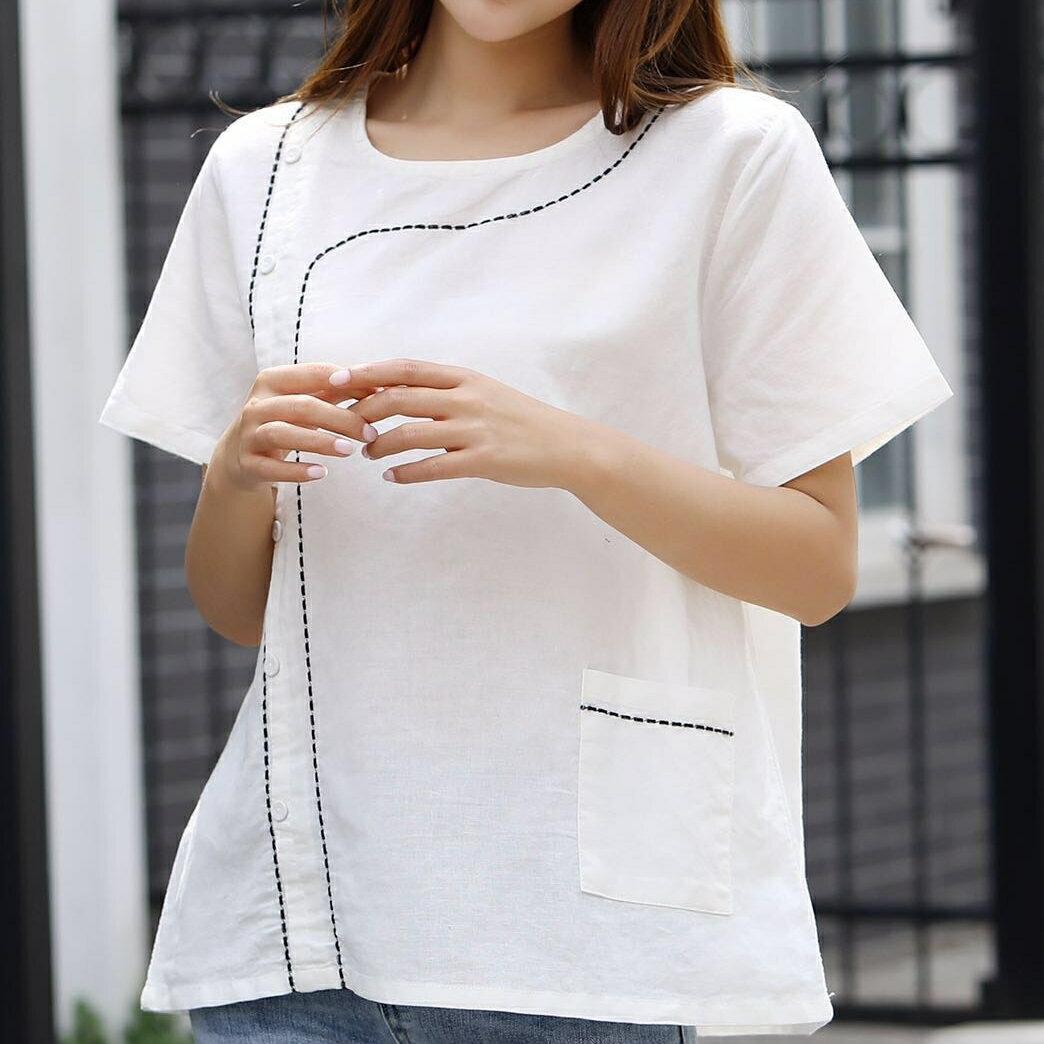【原創】亞麻棉麻幾何線條寬鬆口袋短袖上衣