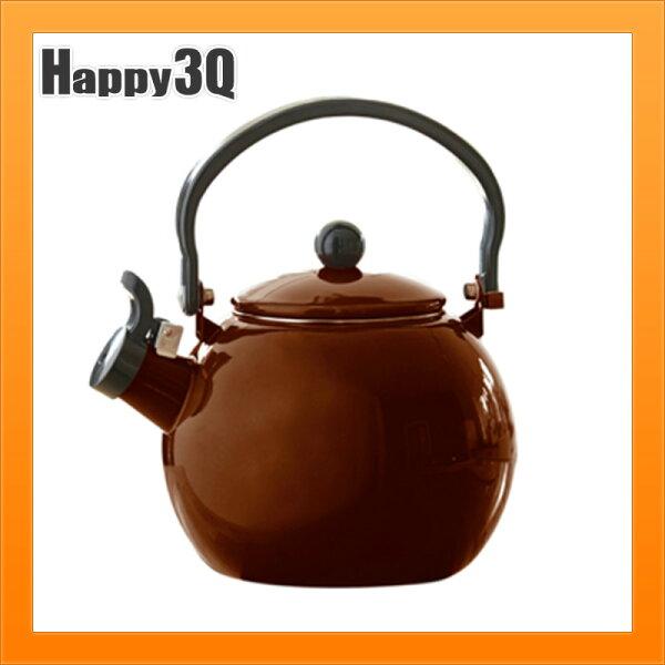 熱水壺加厚琺瑯水壺搪瓷煮水壺可瓦斯爐加熱水壺電磁爐加熱-紅白棕【AAA4051】