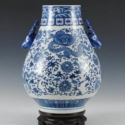 陶瓷花瓶 青花瓷瓷器 擺件~精緻細膩花紋雙耳居家擺飾73c10~ ~~米蘭 ~