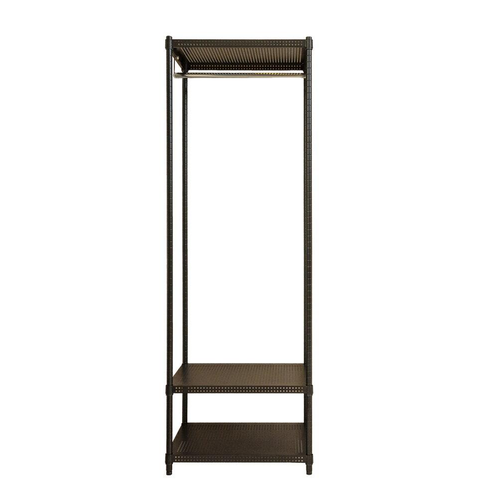 衣櫥/鐵架/衣架 極致美學 60x45x180cm 沖孔烤漆三層單桿衣櫥_低調奢華黑 dayneeds