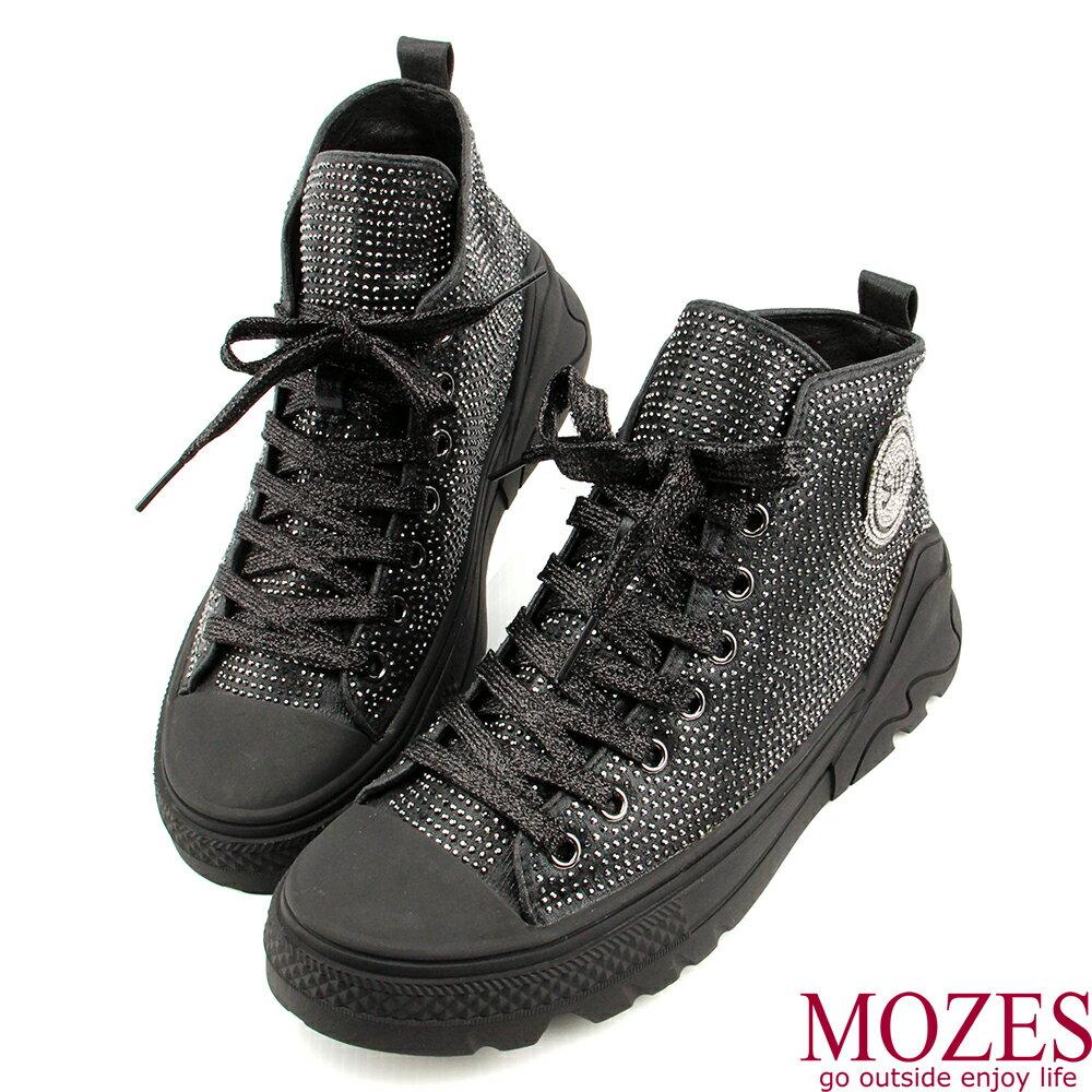 【MOZES】率性綁帶水鑽中跟氣墊中筒靴 0