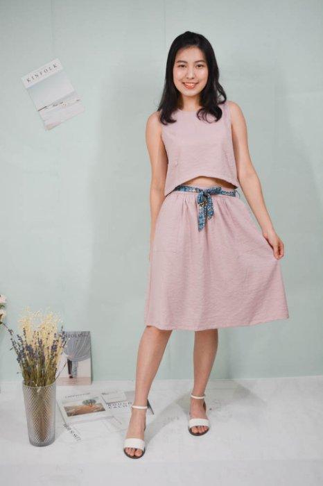 新一夏粉紫色棉混雪紡二件式洋裝【ICEME choice】