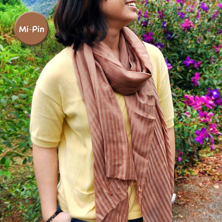 【Mi-Pin】喀什米爾Pashmina羊絨圍巾-條紋浮水印-咖啡色