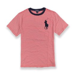 美國百分百【全新真品】Ralph Lauren T恤 RL 短袖 T-shirt Polo 大馬 條紋 紅白XS S號 青年版 I030