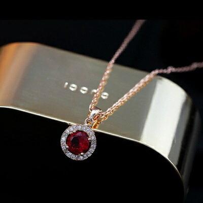 玫瑰金項鍊 水晶純銀吊墜~ 奢華鑲鑽精美七夕情人節 女飾品2色73dw13~ ~~米蘭 ~