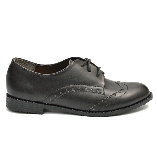 牛津鞋 復古雕花綁帶小皮鞋-黑