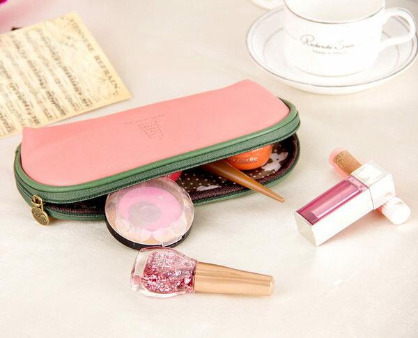 韓國可愛加州陽光化妝包 大容量收納包 多功能PU皮手拿包【庫奇小舖】
